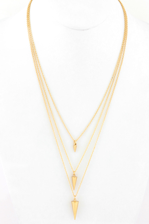 Cone Pendant Triple Layer Chain Link Necklace
