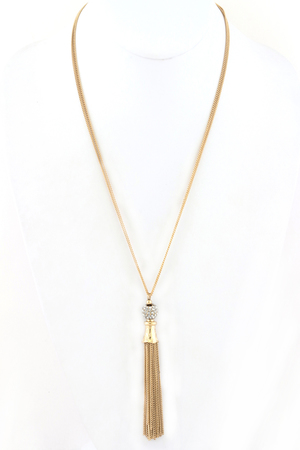 Pave Ball Tassel Necklace