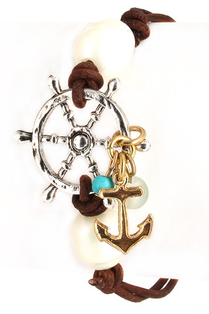 Leather Anchor and Wheel Bracelet