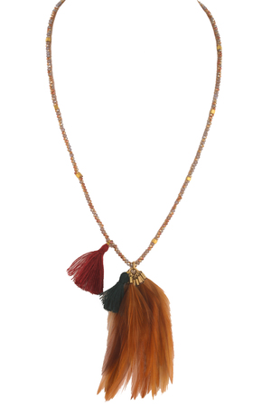 Glass Bead Feather Tassel Pendant Necklace