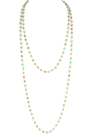 Faceted Glass Bead Multi Wrap Long Necklace
