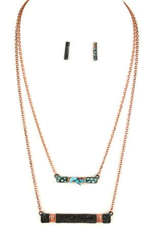 Wired Bar Layered Necklace Set