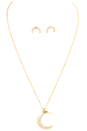 Pave Crescent Necklace Set