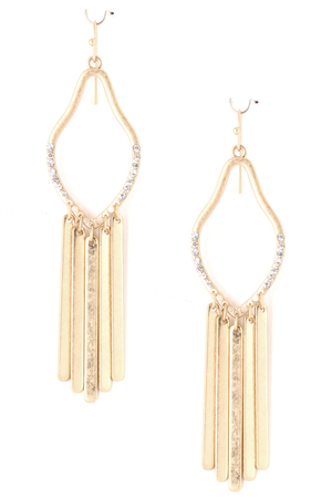 Bar Fringe Pave Cutout Earrings
