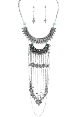 Metal Feather Bib Fringe Necklace