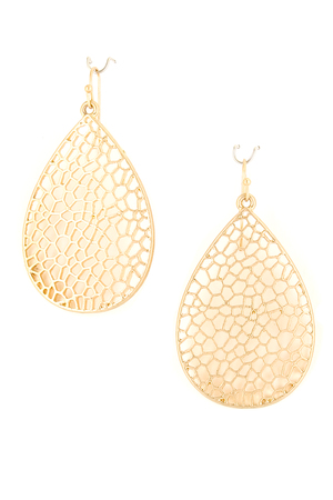 Metal Cutout Teardrop Dangle Earrings