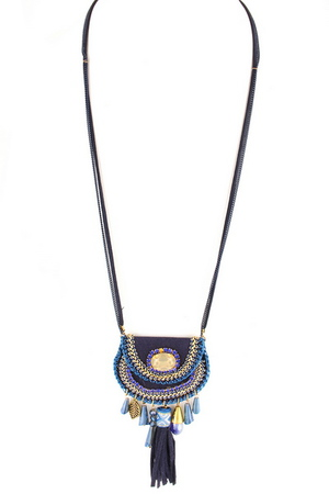 Glass Jewel and Tassel Pouch Necklace
