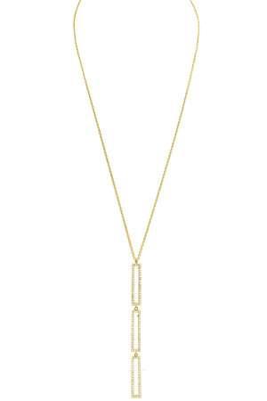 Brass Cubic Zirconia Bar Necklace