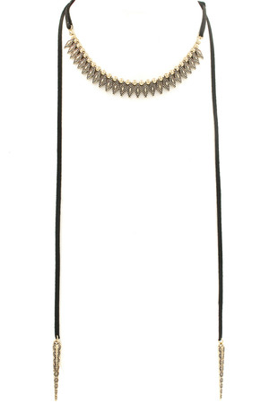 Textured Diamond/Spike Lariat Choker/Necklace