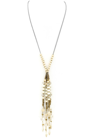 Faceted Bead/Wood Tassel Long Necklace