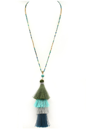Seed Bead Cotton Tassel Necklace