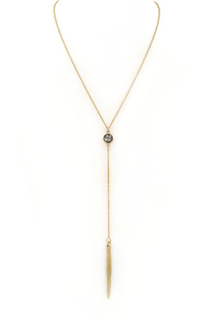 Metal Bar Pendant Y Drop Necklace