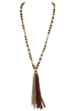 Assorted Bead Faux Suede Tassel Necklace