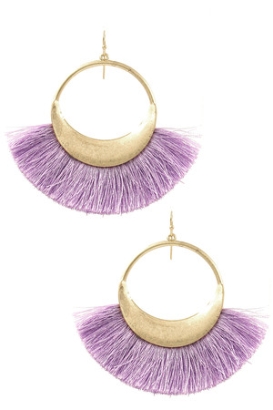 Metal Ring Cotton Fringe Drop Earrings