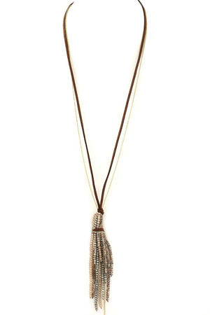 Faux Suede Faceted Bead Tassel Necklace