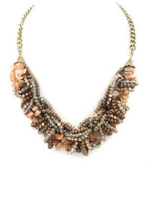 Knotted Faceted Bead/Semi-Precious Stone Necklace