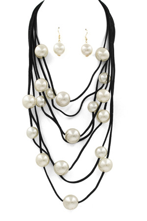 Layered Cream Pearl Faux Suede Necklace