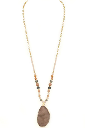 Druzy Stone Pendant Long Necklace