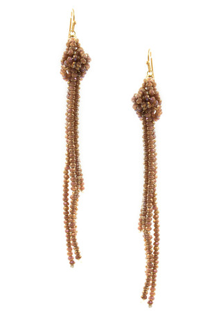 Faceted Bead Tassel Drop Earrings