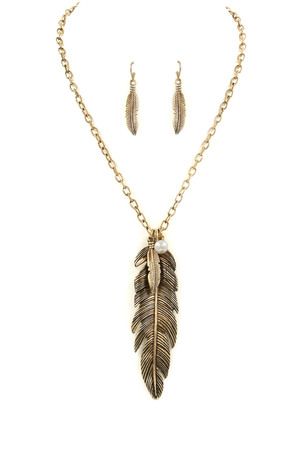 Metal Feather Pendant Necklace Set