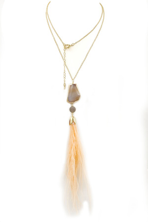 Stone Pendant Feather Tassel Long Necklace