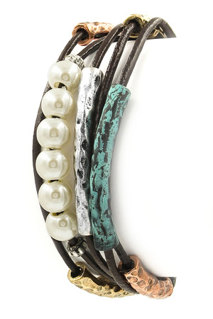 Layered Faux Leather Cream Pearl Bracelet