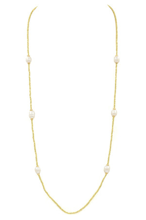 Seed Bead Cream Pearl Necklace
