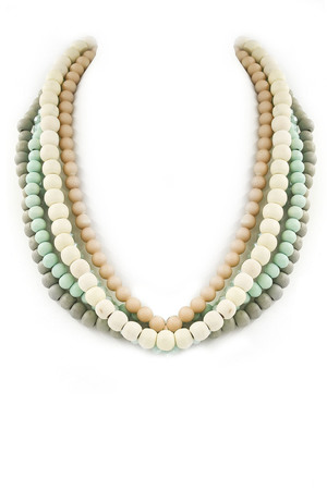 Layered Wood/Faceted Bead Necklace