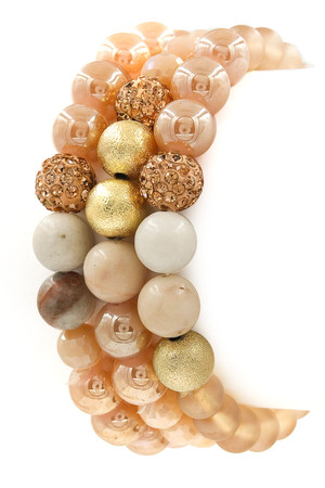 Semi-Precious Stone/Faceted Bead Bracelet Set
