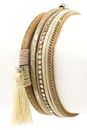 Cotton Tassel Faux Leather Bracelet