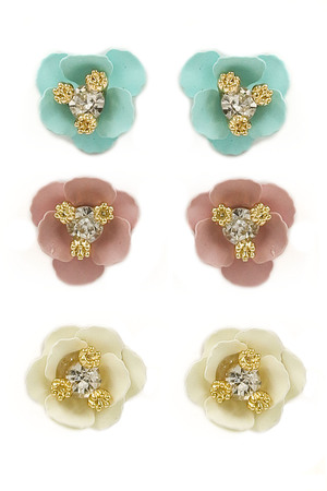Matte Flower Glass Jewel Earrings Set