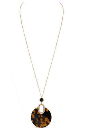 Acetate Circle Pendant Long Necklace