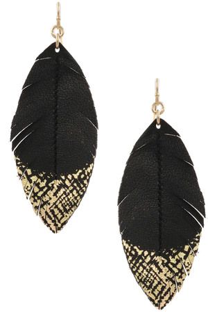 Faux Leather Gold Feather Drop Earrings