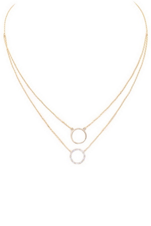 Brass/Cubic Zirconia Ring Necklace