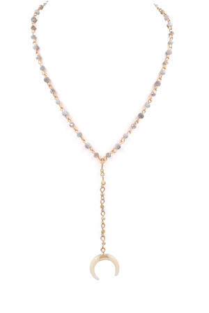 Beaded Crescent Charm \'Y\' Necklace