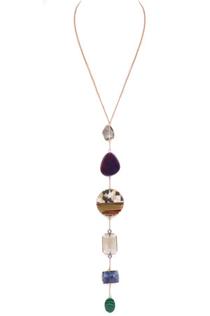 Stacked Stone Pendant Long Necklace