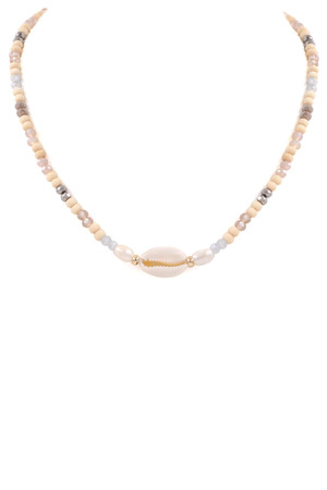 Glass Bead Shell Necklace