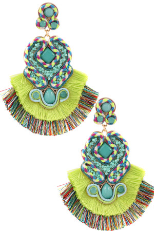 Cotton Tassel Drop Earrings