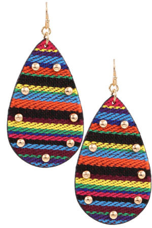 Studded Teardrop Fabric Earrings