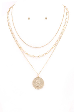 Coin Layered Necklace Set